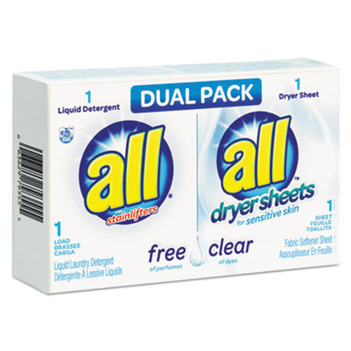 All Free Clear HE Liquid Laundry Detergent Dryer Sheet Dual Vend Pack  100 Ctn (VEN2979355)