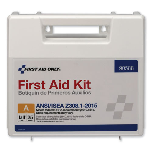 First Aid Only ANSI 2015 Compliant Class A Type I   II First Aid Kit for 25 People  89 Pieces (FAO90588)
