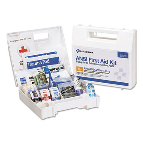First Aid Only ANSI 2015 Compliant Class A  Type I   II First Aid Kit for 25 People  141 Pieces (FAO90589)