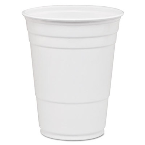 Dart Solo Party Plastic Cold Drink Cups  16-18 oz  White  50 Bag  1000 Carton (DCCP16W)