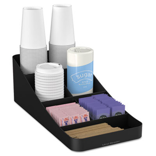 Mind Reader Trove Seven-Compartment Coffee Condiment Organizer  Black  7 3 4 x 16 x 5 1 4 (EMSCOMP7BLK)