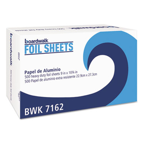 Boardwalk Pop-Up Aluminum Foil Wrap Sheets, 9 x 10 3/4, Silver, 500/Box (BWK7162BX)