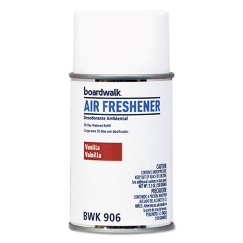 Boardwalk Metered Air Freshener Refill  Vanilla Bean  5 3 oz Aerosol  12 Carton (BWK906)