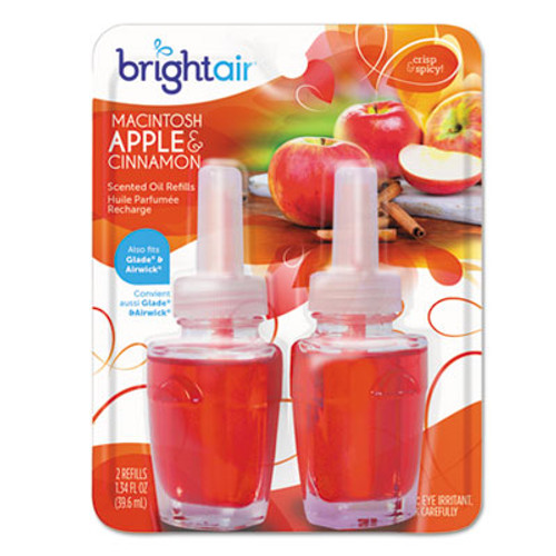 BRIGHT Air Electric Scented Oil Air Freshener Refill  Macintosh Apple and Cinnamon  2 Pack (BRI900255PK)