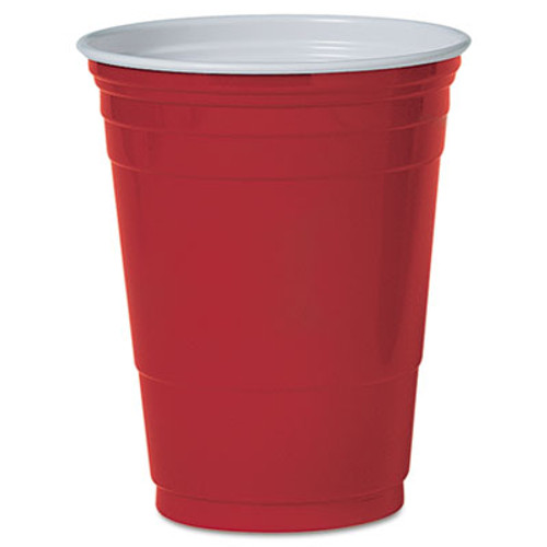 Dart Solo Plastic Party Cold Cups  16oz  Red  50 Pack (DCCP16RPK)