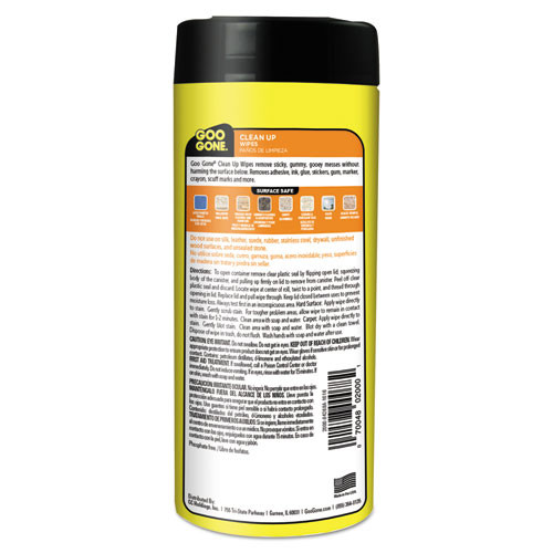 Goo Gone Clean Up Wipes  8 x 7  Citrus Scent  White  24 Canister  4 Canister Carton (WMN2000)