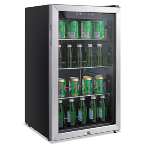 Alera 3 2 Cu  Ft  Beverage Cooler  Stainless Steel Black (ALERFBC34)