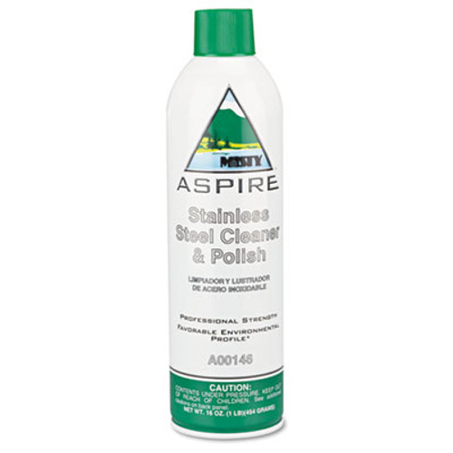 Misty Aspire Stainless Steel Cleaner and Polish  Lemon Scent  16 oz Aerosol  12 Carton (AMR1038047)