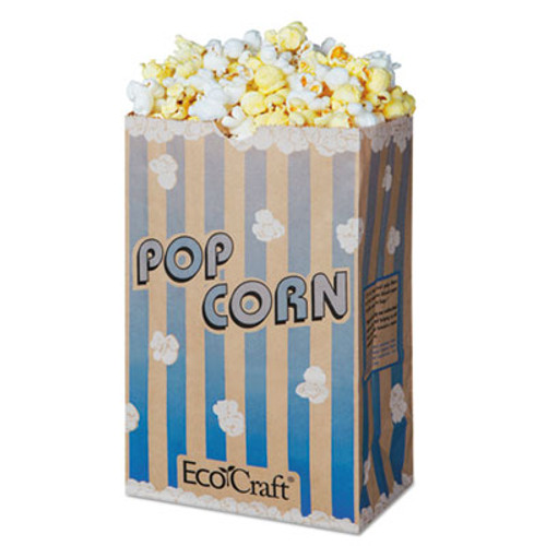 Bagcraft EcoCraft Grease-Resistant Popcorn Bags  85 oz  2-ply  3 25  x 8 63   Blue Stripe Natural  500 Carton (BGC300612)