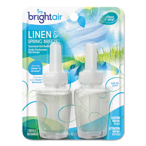 BRIGHT Air Electric Scented Oil Air Freshener Refill  Linen   Spring Breeze  0 67 oz Jar  2 Pack (BRI900269PK)