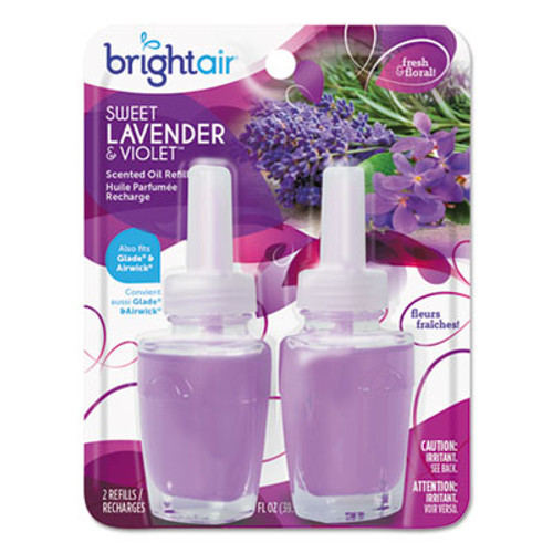 BRIGHT Air Electric Scented Oil Air Freshener Refill  Sweet Lavender Violet  0 67 oz Jar  2 Pack   6 Packs Carton (BRI900270)