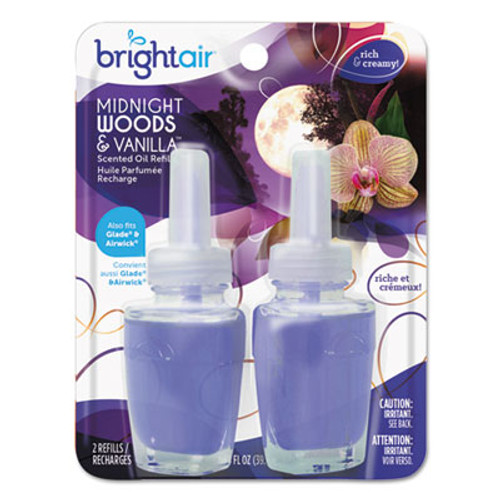 BRIGHT Air Electric Scented Oil Air Freshener Refill  Midnight Woods Vanilla  0 67 oz Jar  2 Pack (BRI900272PK)