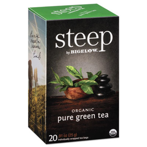 Bigelow steep Tea  Pure Green  0 91 oz Tea Bag  20 Box (BTC17703)
