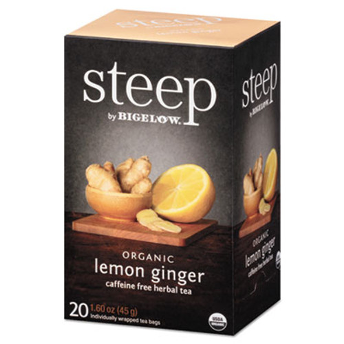 Bigelow steep Tea, Lemon Ginger, 1.6 oz Tea Bag, 20/Box (BTC17704)