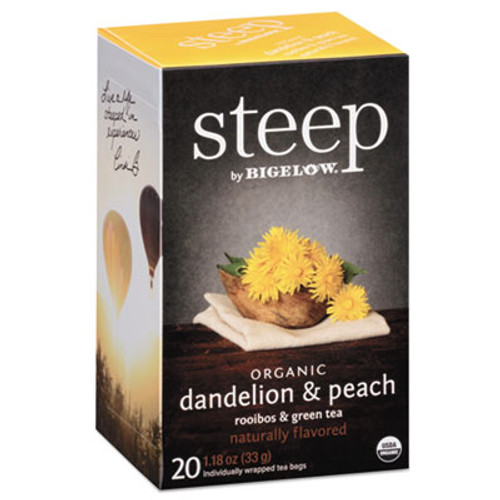 Bigelow steep Tea  Dandelion   Peach  1 18 oz Tea Bag  20 Box (BTC17715)