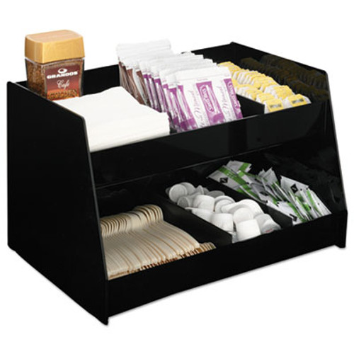 Boardwalk Condiment Organizer  14 1 3 x 10 1 2 x 9 2 3  6-Compartment  Black (BWK99001)