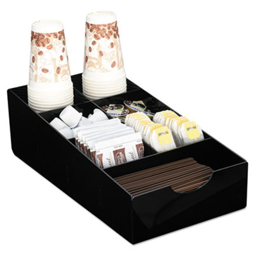 Boardwalk Condiment Tray, 8 1/4 x 16 x 5 1/8, 7-Compartment, Black (BWK99002)
