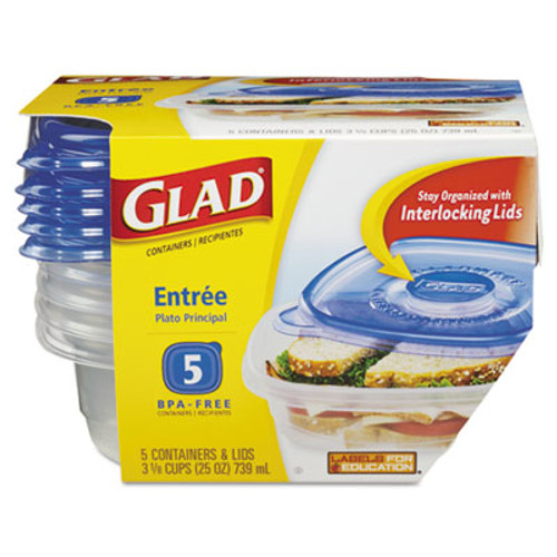 Glad GladWare Entrée Food Storage Containers, 25 oz, 5/Pack (CLO60795PK)