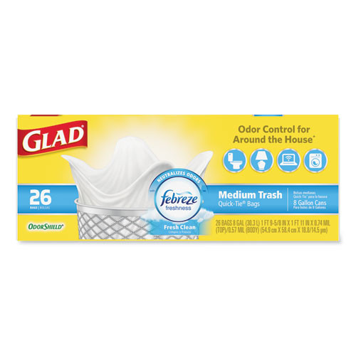 Glad OdorShield Medium Quick-Tie Trash Bags  8 gal  0 57 mil  21 63  x 23   White  156 Carton (CLO78815CT)