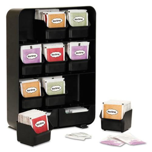 Mind Reader Baggy Nine-Drawer Tea Bag and Accessory Holder, Black, 10.24 x 4.33 x 13.11 (EMSTBORGBLK)