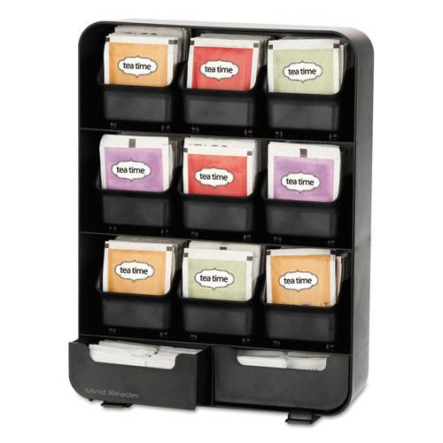Mind Reader Baggy Nine-Drawer Tea Bag and Accessory Holder  Black  10 24 x 4 33 x 13 11 (EMSTBORGBLK)