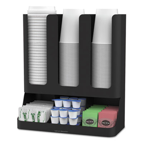 Mind Reader Flume Six-Section Upright Coffee Condiment Cup Organizer  Black  11 5 x 6 5 x 15 (EMSUPRIGHT6BLK)
