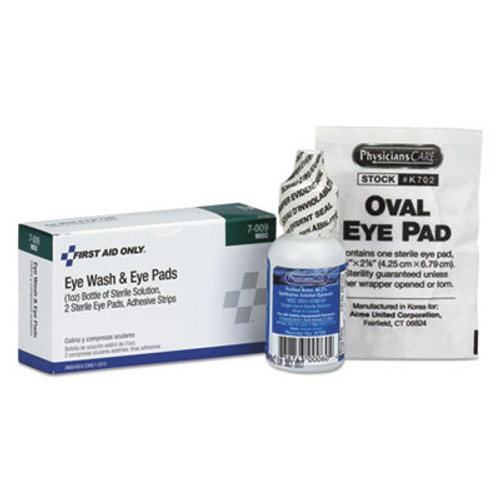 First Aid Only Eyewash Set w Eyepads and Adhesive Strips (FAO7009)