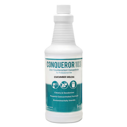 Fresh Products Conqueror 103 Odor Counteractant Concentrate, Cucumber Melon, 1qt Bottle,12/Ctn (FRS1232WBCMF)