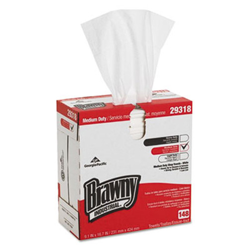 Brawny Industrial Light Weight HEF Disposable Shop Towels, 9.1 x 16.7, White, 148/Box, 10/Carton (GPC29318)