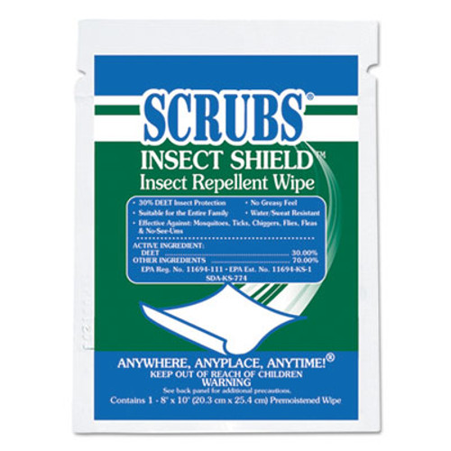 SCRUBS Insect Shield Insect Repellent Wipes  8 x 10  White  100 Carton (ITW91401)