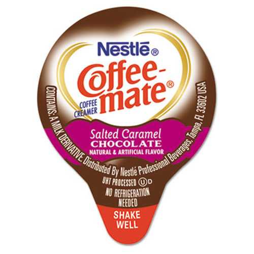 Coffee-mate Liquid Coffee Creamer, Salted Caramel Chocolate, 0.375 oz Mini Cups, 50/Box (NES77197)