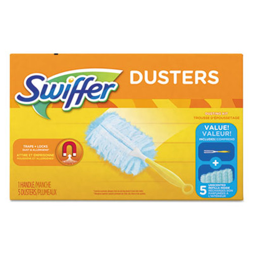 "Swiffer Dusters Starter Kit, Dust Lock Fiber, 6"" Handle, Blue/Yellow (PGC11804BX)"
