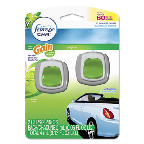 Febreze CAR Air Freshener  Gain Original  2 ml Clip  2 Pack  8 Packs Carton (PGC94731CT)