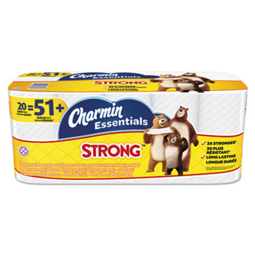 Charmin Essentials Strong Bathroom Tissue, 1-Ply, 4 x 3.92, 300/Roll, 20 Roll/Pack (PGC96896)