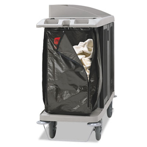 Rubbermaid Commercial Zippered Vinyl Cleaning Cart Bag, 25 gal, 17w x 10 1/2d x 33h, Brown (RCP1966885)