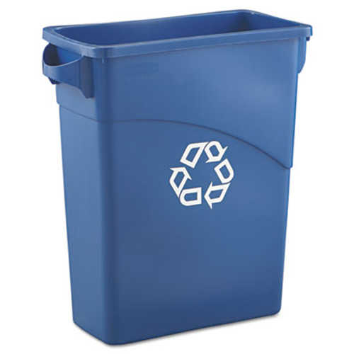 Rubbermaid Commercial Slim Jim Recycling W/Handles, Rectangular, Plastic, 15.875gal, Blue (RCP1971257)