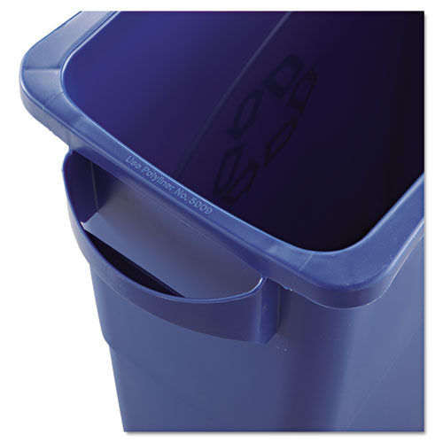 Rubbermaid Commercial Slim Jim W Handles  Rectangular  Plastic  15 9 gal  Blue (RCP1971257)