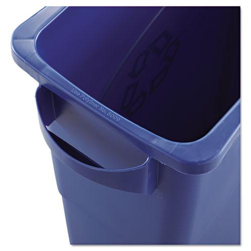 Rubbermaid Commercial Slim Jim W Handles  Rectangular  Plastic  15 9 gal  Blue (RCP1971257)