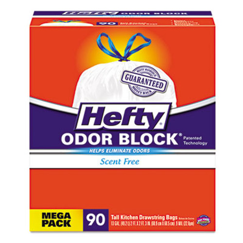 Hefty Odor Block Tall-Kitchen Drawstring Bags, 13gal, .9 mil, White, 90/BX, 3 BX/CT (RFPE84574CT)