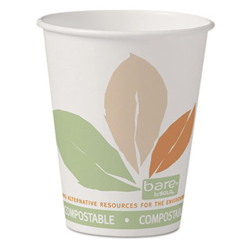 SOLO Cup Company Bare Eco-Forward PLA Paper Hot Cups, 8 oz, White w/Leaf Design, 50/Pack (SCC378PLABBPK)