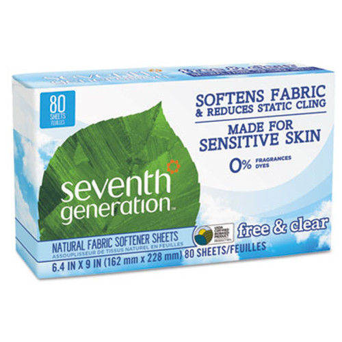 Seventh Generation Natural Fabric Softener Sheets, Free & Clear, 80/Box, 12 Box/Carton (SEV22787)