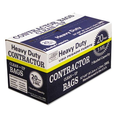 AEP Industries Inc. Heavy-Duty Contractor Clean-Up Bags  60 gal  3 mil  32  x 50   Black  20 Carton (WBI186470)