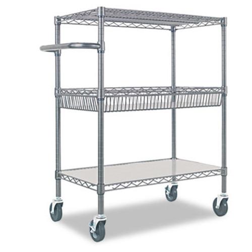 Alera Three-Tier Wire Rolling Cart, 34w x 18d x 40h, Black Anthracite (ALESW543018BA)