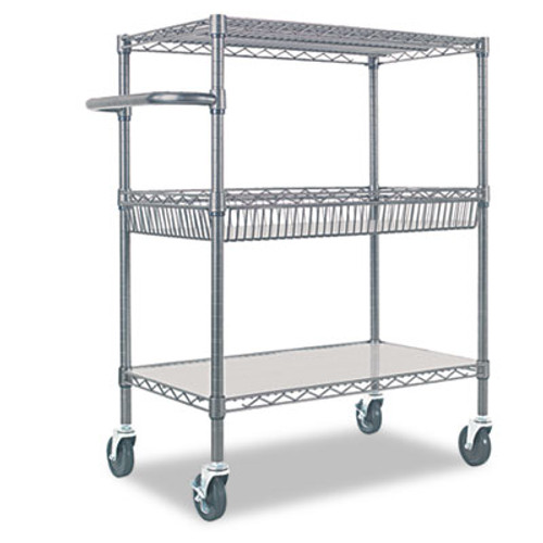Alera Three-Tier Wire Rolling Cart, 34w x 18d x 40h, Black Anthracite (ALESW543018BA)