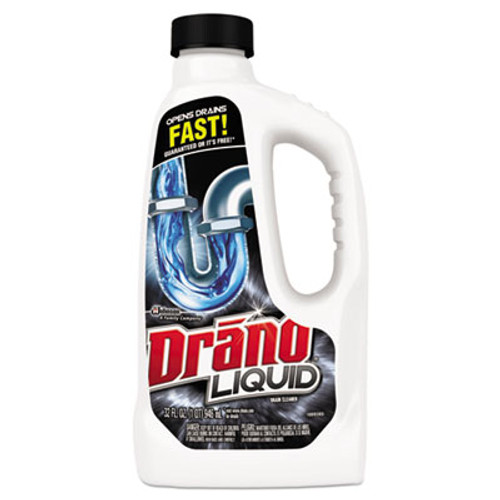 Drano Liquid Drain Cleaner, 32oz Safety Cap Bottle, 12/Carton (SJN000116)