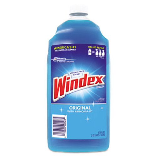 Windex Powerized Glass Cleaner with Ammonia-D, 67.6oz Refill, Unscented, 6/Carton (SJN062128)