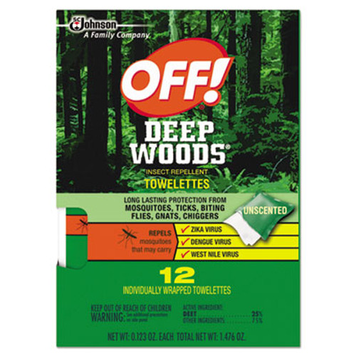 OFF! Deep Woods Towelettes, 12/Box, 12 Boxes per Carton (SJN611072)