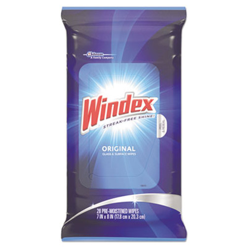 Windex Glass & Surface Wet Wipe, Cloth, 7 x 10, 28/Pack (SJN642513)