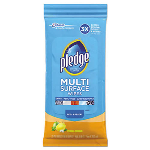 Pledge Multi-Surface Cleaner Wet Wipes, Cloth, Fresh Citrus, 7 x 10, 25/Pack, 12/Carton (SJN644080)