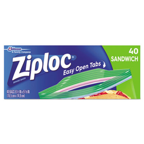 Ziploc Resealable Sandwich Bags, 6 1/2 x 5 7/8, 1.2 mil, Clear, 40/Box, 12 BX/CT (SJN664542)